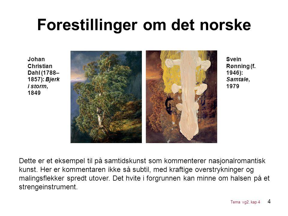 4 Forestillinger om det norske Johan Christian Dahl (1788– 1857): Bjerk i storm, 1849 Svein Rønning (f. 1946): Samtale, 1979 Dette er et eksempel til