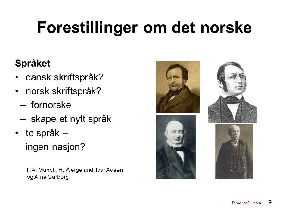 9 Språket •dansk skriftspråk? •norsk skriftspråk? – fornorske – skape et nytt språk •to språk – ingen nasjon? Forestillinger om det norske P.A. Munch,
