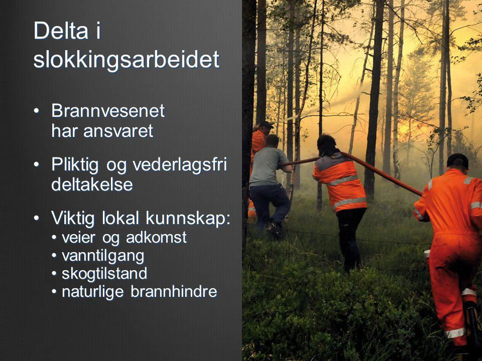 Delta i slokkingsarbeidet •Brannvesenet har ansvaret •Pliktig og vederlagsfri deltakelse •Viktig lokal kunnskap: • veier og adkomst • vanntilgang • skogtilstand • naturlige brannhindre