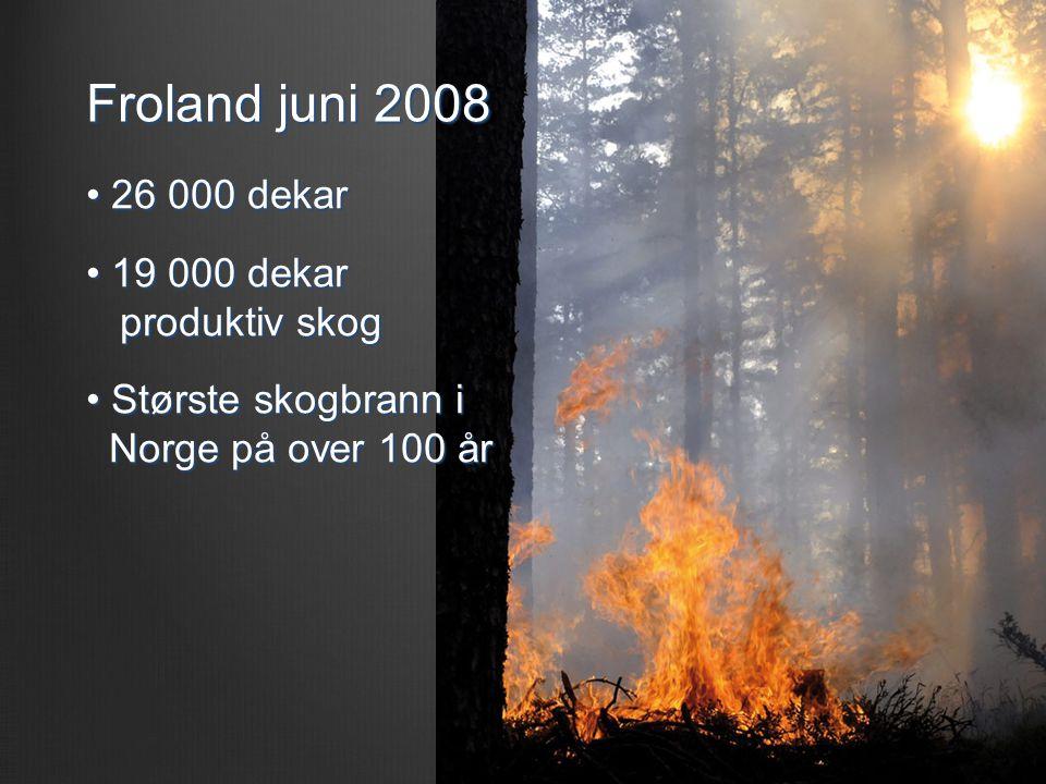 Froland juni 2008 • 26 000 dekar • 19 000 dekar produktiv skog • Største skogbrann i Norge på over 100 år