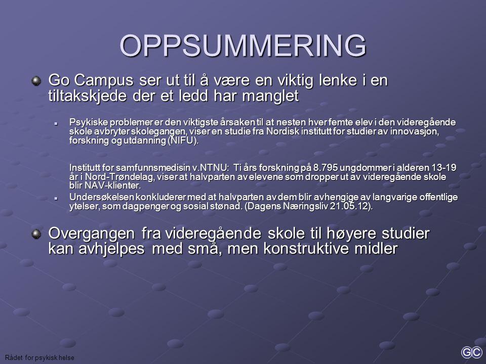 GC OPPSUMMERING Go Campus ser ut til å være en viktig lenke i en tiltakskjede der et ledd har manglet  Psykiske problemer er den viktigste årsaken ti