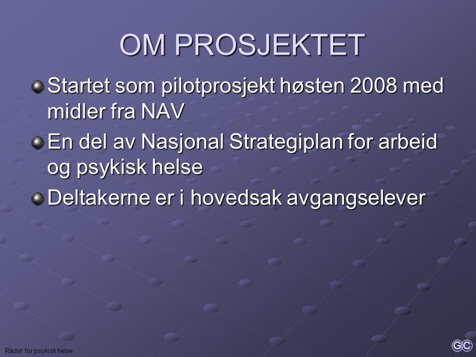 GC Rådet for psykisk helse OM PROSJEKTET OM PROSJEKTET Startet som pilotprosjekt høsten 2008 med midler fra NAV En del av Nasjonal Strategiplan for ar