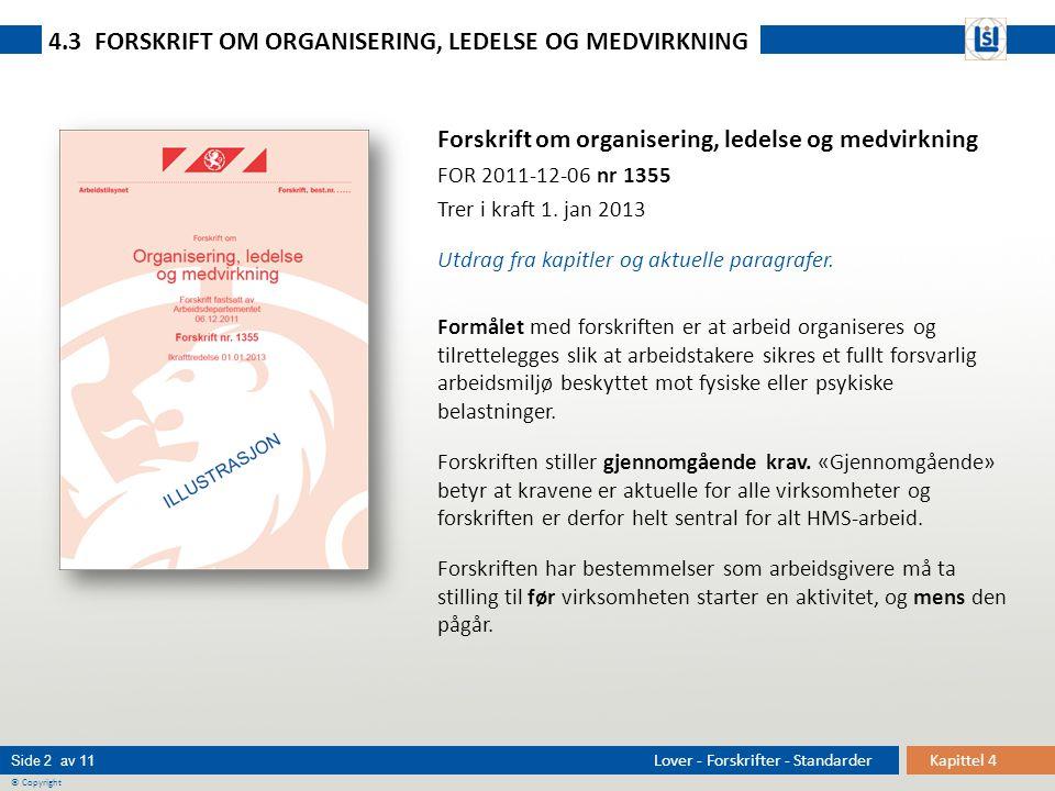 Kapittel 4 Side 2 av 11 © Copyright Lover - Forskrifter - Standarder Forskrift om organisering, ledelse og medvirkning FOR 2011-12-06 nr 1355 Trer i k