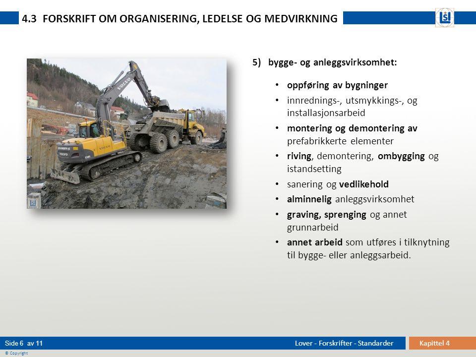Kapittel 4 Side 6 av 11 © Copyright Lover - Forskrifter - Standarder 5) bygge- og anleggsvirksomhet: • oppføring av bygninger • innrednings-, utsmykki