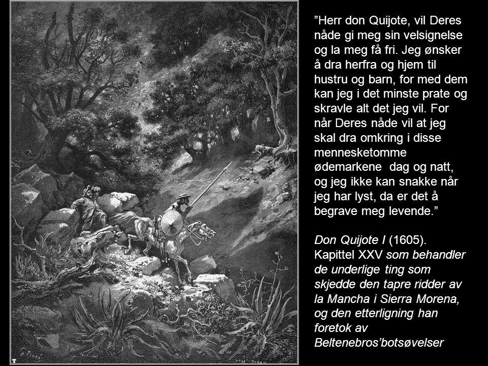 """""""Herr don Quijote, vil Deres nåde gi meg sin velsignelse og la meg få fri. Jeg ønsker å dra herfra og hjem til hustru og barn, for med dem kan jeg i d"""