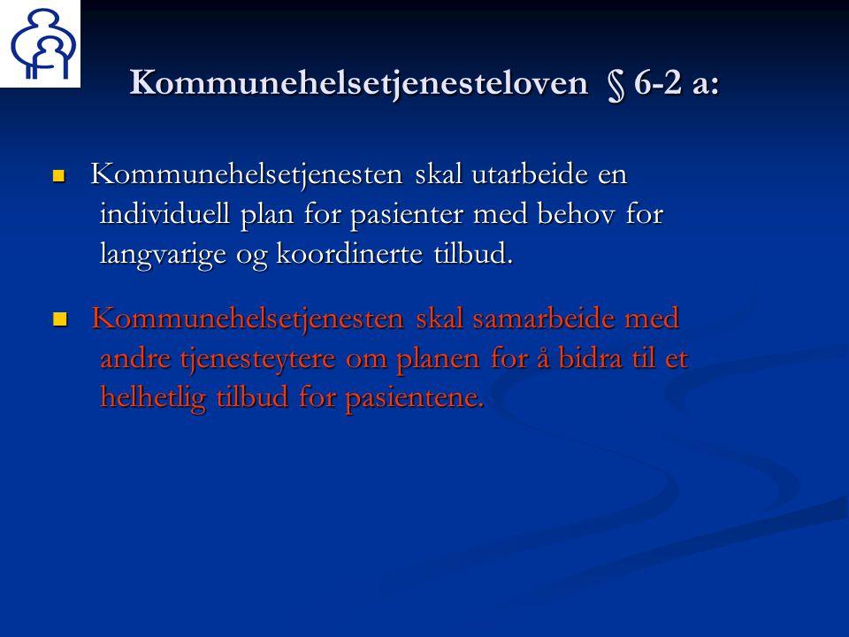 Kommunehelsetjenesteloven § 6-2 a:  Kommunehelsetjenesten skal utarbeide en individuell plan for pasienter med behov for langvarige og koordinerte ti