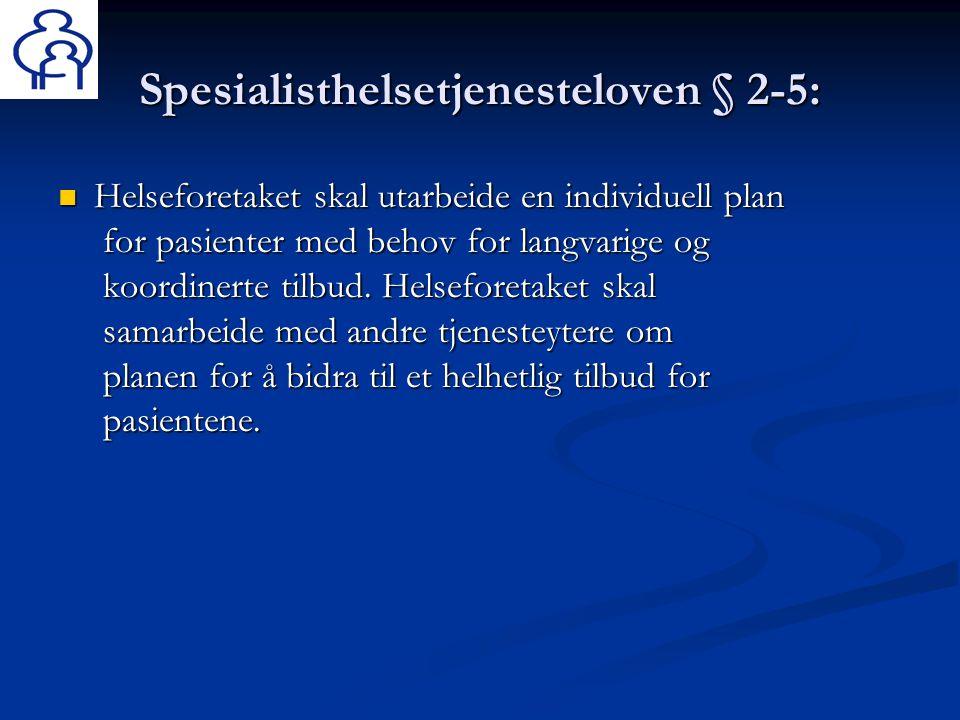 Spesialisthelsetjenesteloven § 2-5:  Helseforetaket skal utarbeide en individuell plan for pasienter med behov for langvarige og koordinerte tilbud.