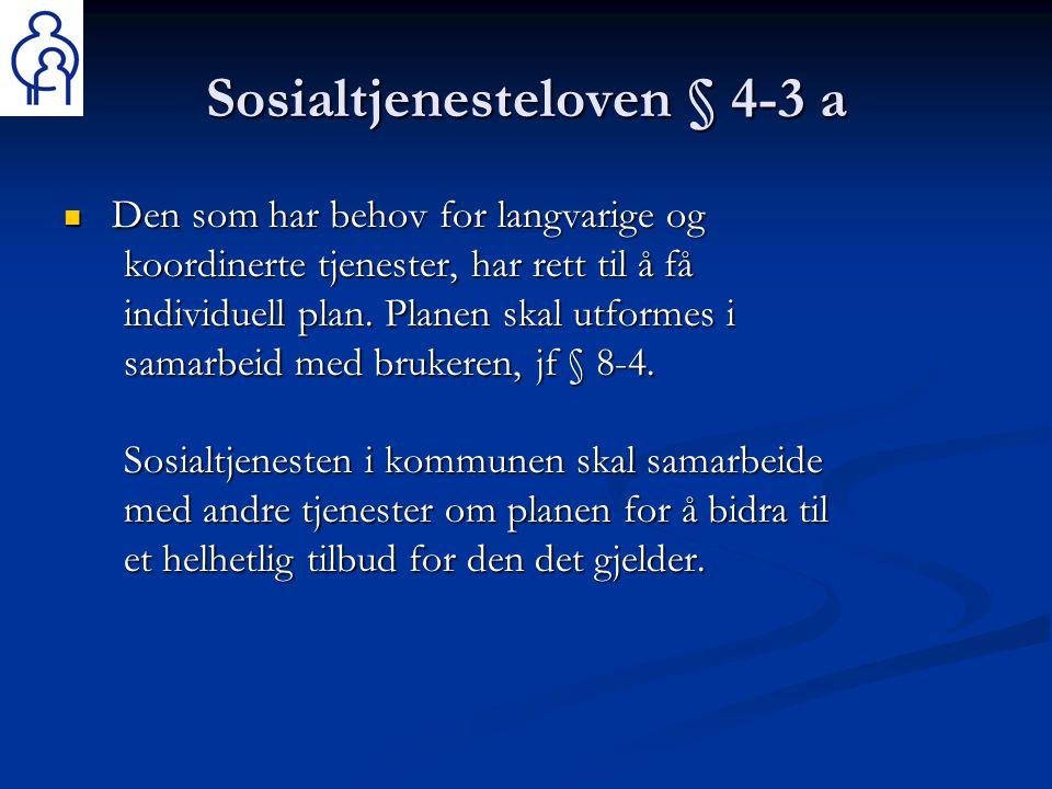 Sosialtjenesteloven § 4-3 a  Den som har behov for langvarige og koordinerte tjenester, har rett til å få individuell plan. Planen skal utformes i sa