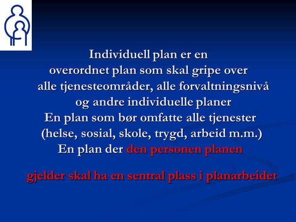 Individuell plan er en overordnet plan som skal gripe over alle tjenesteområder, alle forvaltningsnivå og andre individuelle planer En plan som bør om