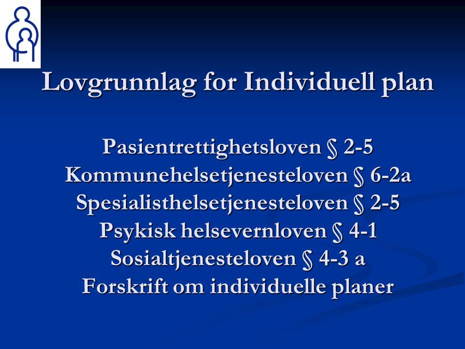 Lovgrunnlag for Individuell plan Pasientrettighetsloven § 2-5 Kommunehelsetjenesteloven § 6-2a Spesialisthelsetjenesteloven § 2-5 Psykisk helsevernlov