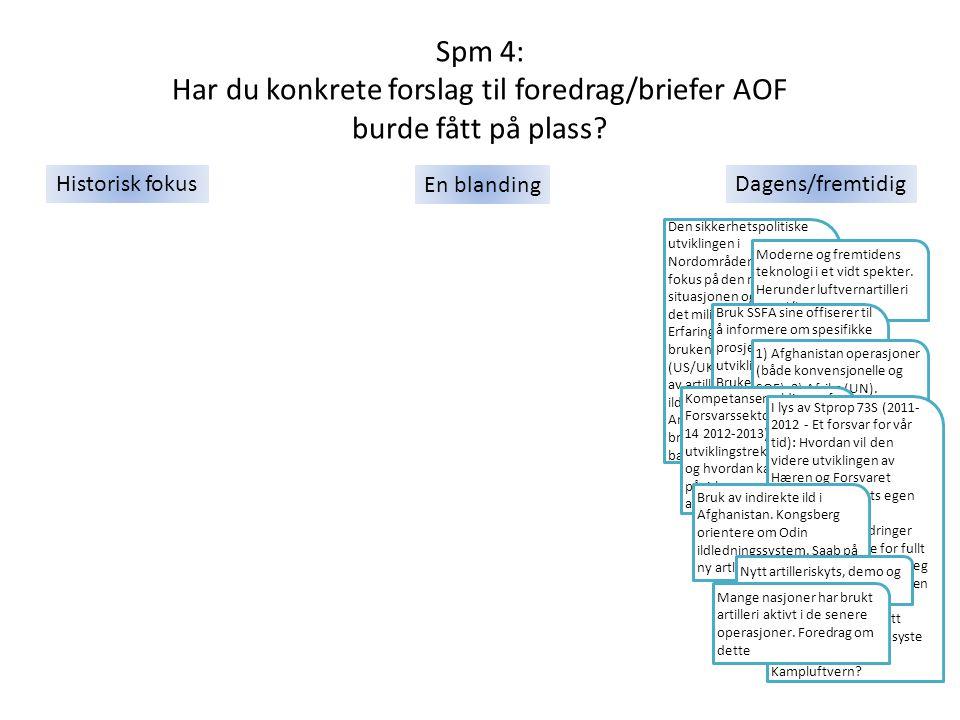 Spm 4: Har du konkrete forslag til foredrag/briefer AOF burde fått på plass? Den sikkerhetspolitiske utviklingen i Nordområdene, med fokus på den mili