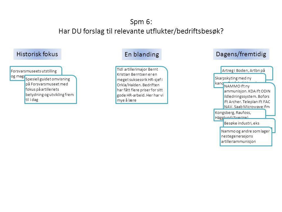 Spm 6: Har DU forslag til relevante utflukter/bedriftsbesøk? Tidl artillerimajor Bernt Kristian Berntsen er en meget suksessrik HR-sjef i Orkla/Halden