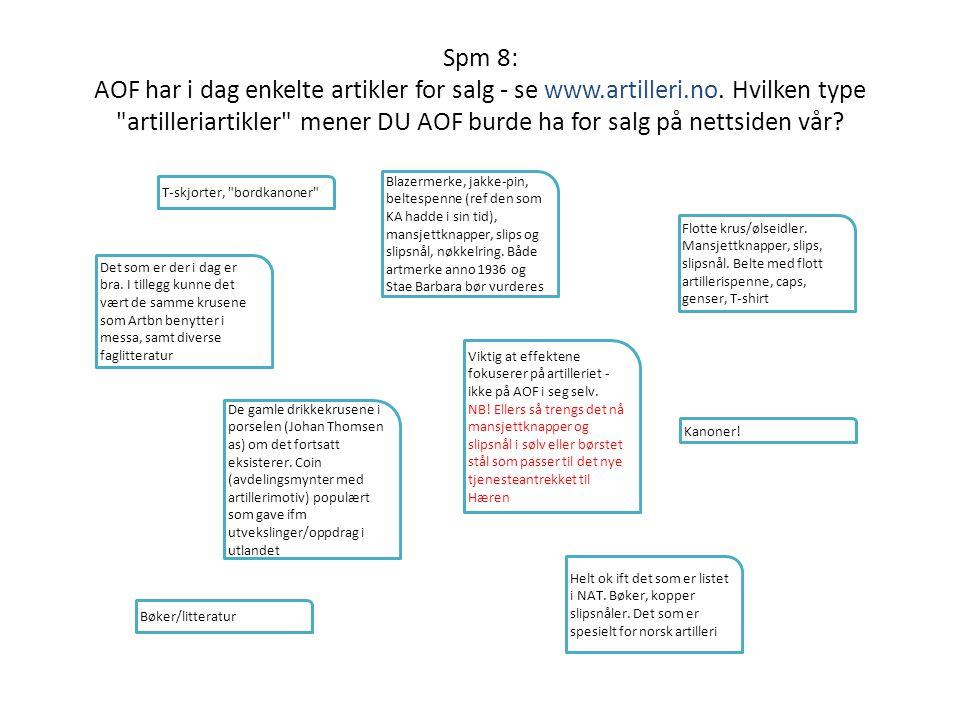 Spm 8: AOF har i dag enkelte artikler for salg - se www.artilleri.no. Hvilken type