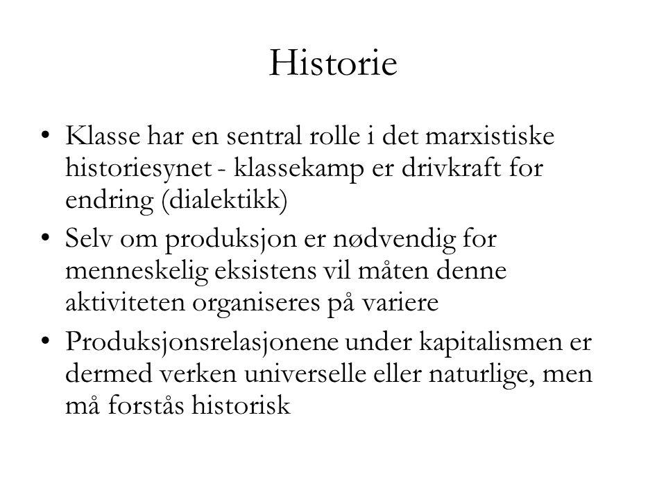 Historie •Klasse har en sentral rolle i det marxistiske historiesynet - klassekamp er drivkraft for endring (dialektikk) •Selv om produksjon er nødven