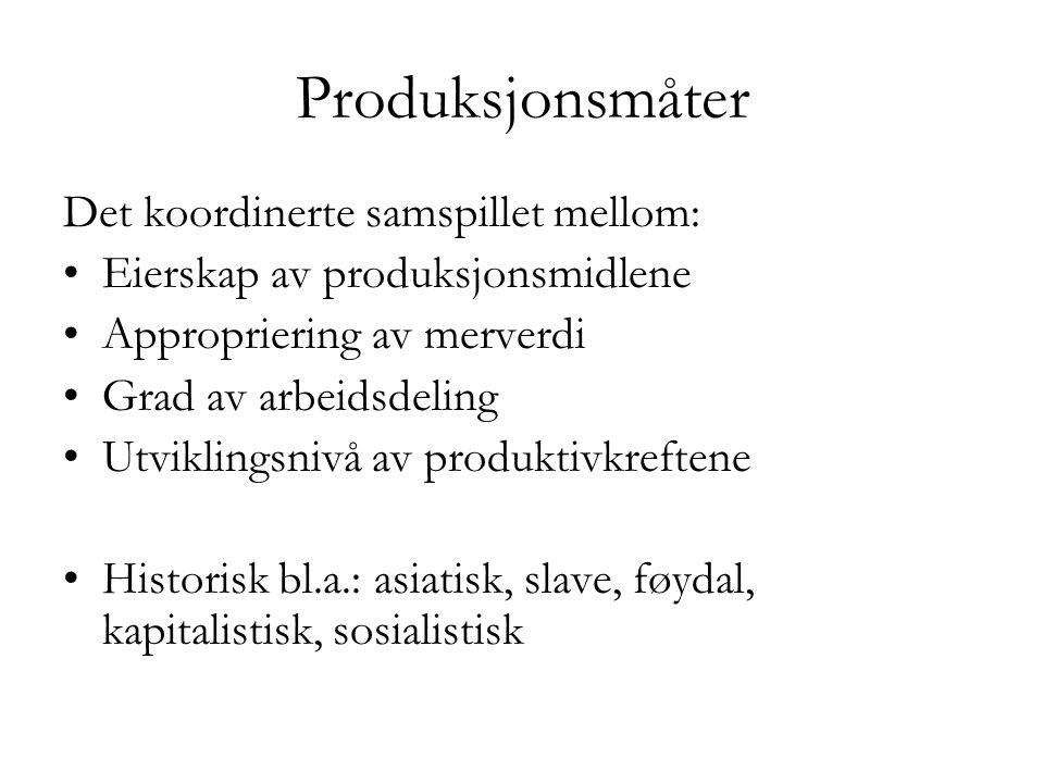 Produksjonsmåter Det koordinerte samspillet mellom: •Eierskap av produksjonsmidlene •Appropriering av merverdi •Grad av arbeidsdeling •Utviklingsnivå
