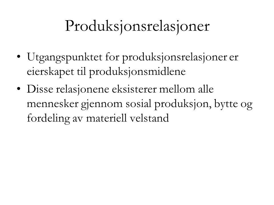 Produksjonsrelasjoner •Utgangspunktet for produksjonsrelasjoner er eierskapet til produksjonsmidlene •Disse relasjonene eksisterer mellom alle mennesk