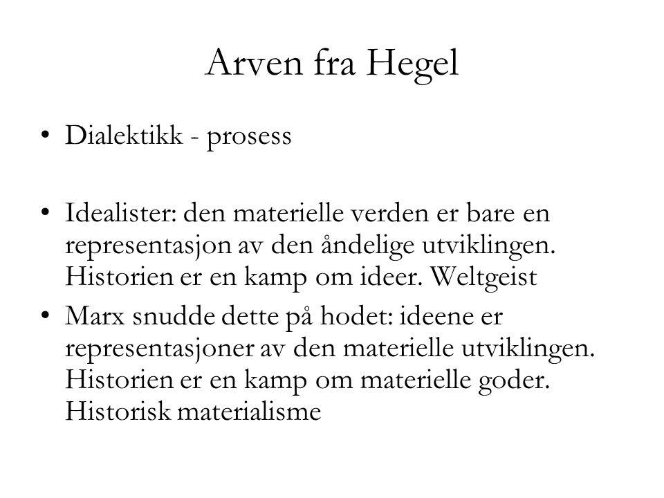 Arven fra Hegel •Dialektikk - prosess •Idealister: den materielle verden er bare en representasjon av den åndelige utviklingen. Historien er en kamp o