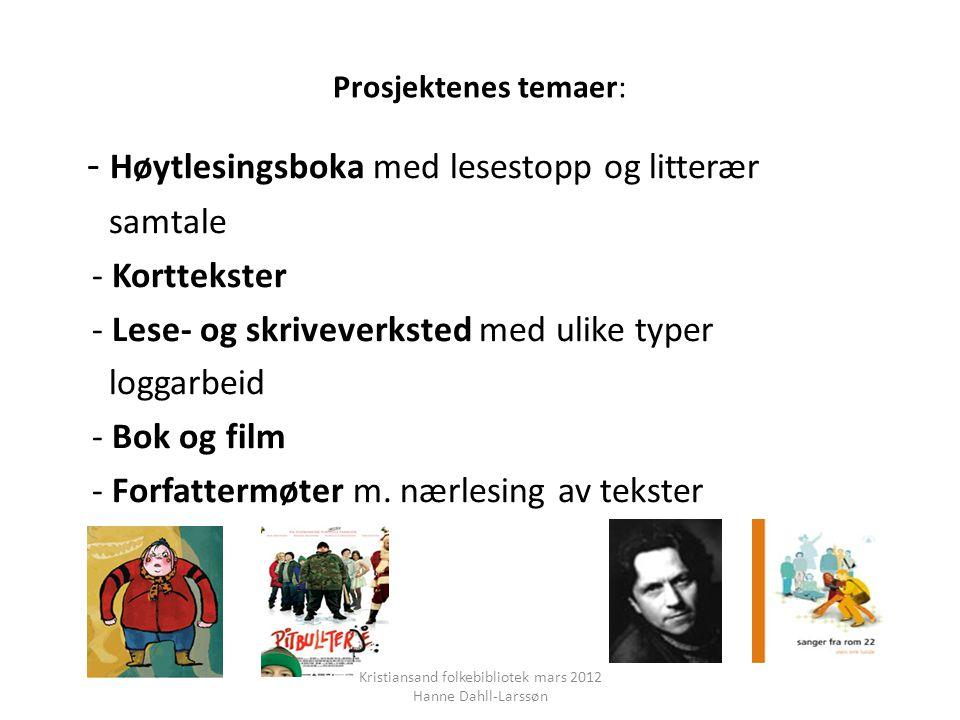 Prosjektenes temaer: - Høytlesingsboka med lesestopp og litterær samtale - Korttekster - Lese- og skriveverksted med ulike typer loggarbeid - Bok og film - Forfattermøter m.