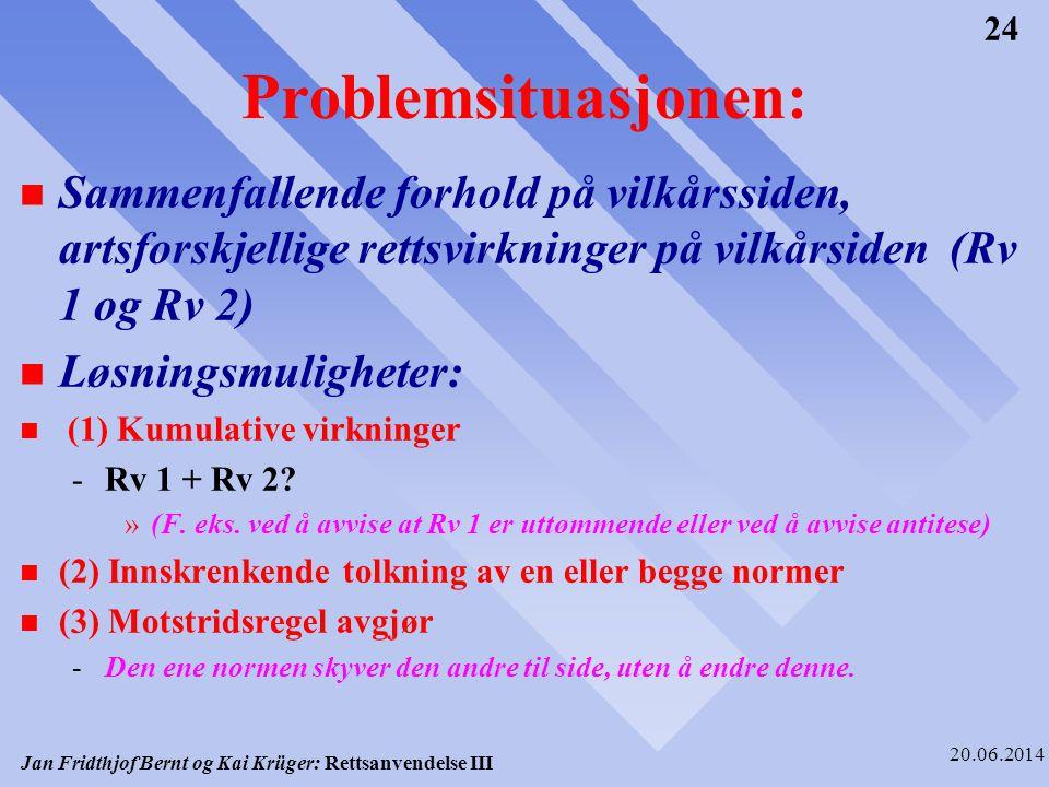 Jan Fridthjof Bernt og Kai Krüger: Rettsanvendelse III 20.06.2014 24 Problemsituasjonen: n Sammenfallende forhold på vilkårssiden, artsforskjellige re