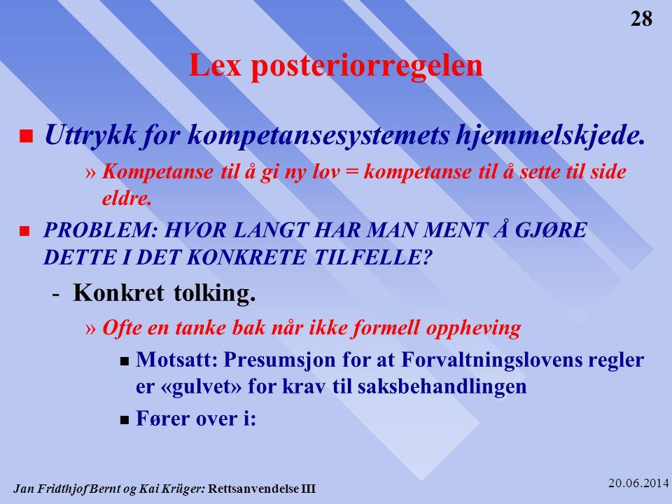 Jan Fridthjof Bernt og Kai Krüger: Rettsanvendelse III 20.06.2014 28 Lex posteriorregelen n Uttrykk for kompetansesystemets hjemmelskjede. »Kompetanse