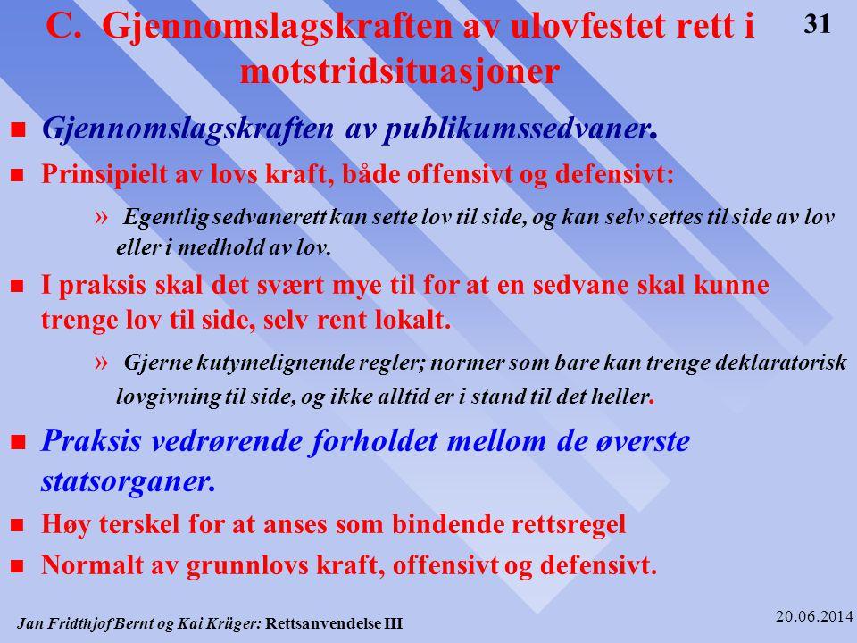 Jan Fridthjof Bernt og Kai Krüger: Rettsanvendelse III 20.06.2014 31 C. Gjennomslagskraften av ulovfestet rett i motstridsituasjoner n Gjennomslagskra