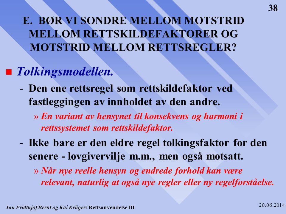 Jan Fridthjof Bernt og Kai Krüger: Rettsanvendelse III 20.06.2014 38 E. BØR VI SONDRE MELLOM MOTSTRID MELLOM RETTSKILDEFAKTORER OG MOTSTRID MELLOM RET