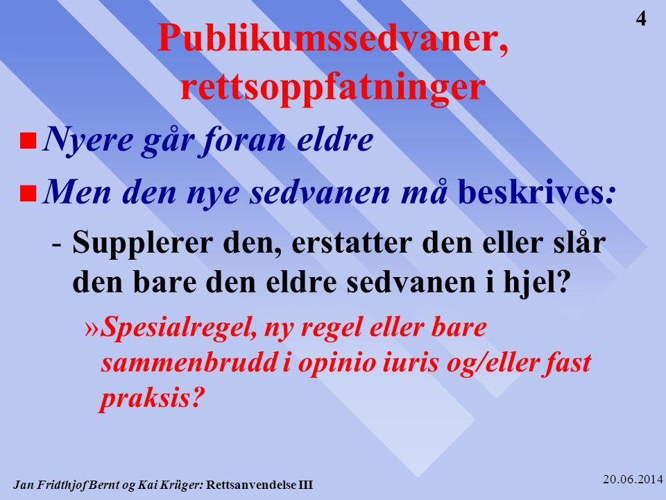 Jan Fridthjof Bernt og Kai Krüger: Rettsanvendelse III 20.06.2014 15 II.LEGALITETSPRINSIPPET SOM RETTSKILDEFAKTOR n Legalitetsprinsippets rettslige status n Ingen materiell rettsregel annet enn på det rent konstitusjonelle plan -Vi vil dermed ikke få motstrid mellom dette og andre rettsregler n Ingen rettskildefaktor som sier noe om innholdet av den konkrete rettsregel.
