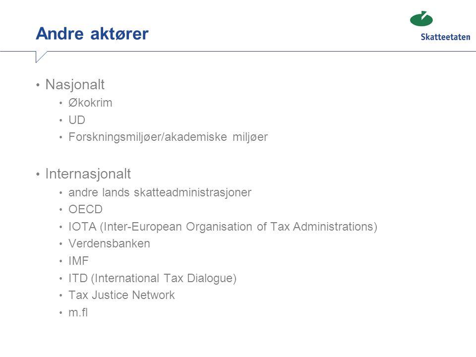 Andre aktører • Nasjonalt • Økokrim • UD • Forskningsmiljøer/akademiske miljøer • Internasjonalt • andre lands skatteadministrasjoner • OECD • IOTA (I