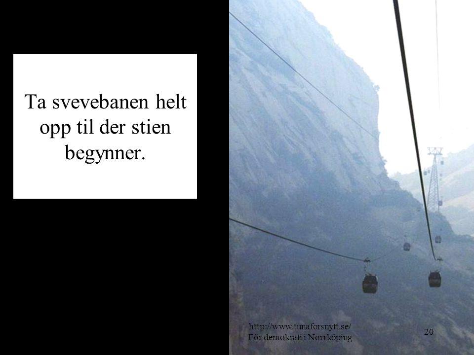 Ta svevebanen helt opp til der stien begynner. 2014-06-2020 http://www.tunaforsnytt.se/ För demokrati i Norrköping