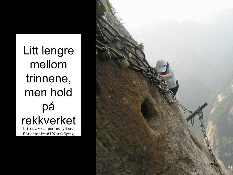 Litt lengre mellom trinnene, men hold på rekkverket 2014-06-2026 http://www.tunaforsnytt.se/ För demokrati i Norrköping