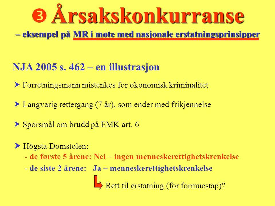 Årsakskonkurranse – eksempel på MR i møte med nasjonale erstatningsprinsipper  Årsakskonkurranse – eksempel på MR i møte med nasjonale erstatningsprinsipper NJA 2005 s.