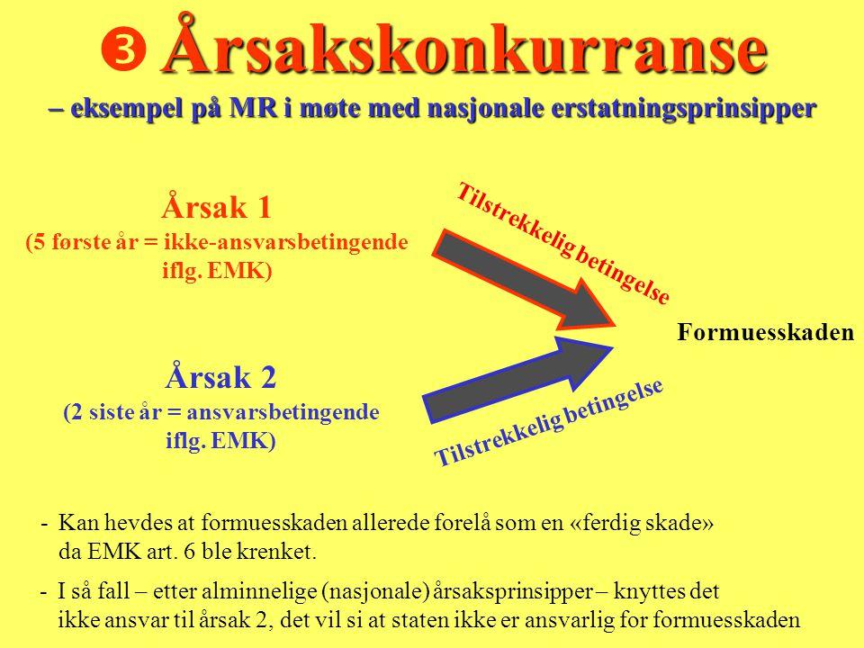 Årsakskonkurranse – eksempel på MR i møte med nasjonale erstatningsprinsipper  Årsakskonkurranse – eksempel på MR i møte med nasjonale erstatningsprinsipper - Kan hevdes at formuesskaden allerede forelå som en «ferdig skade» da EMK art.