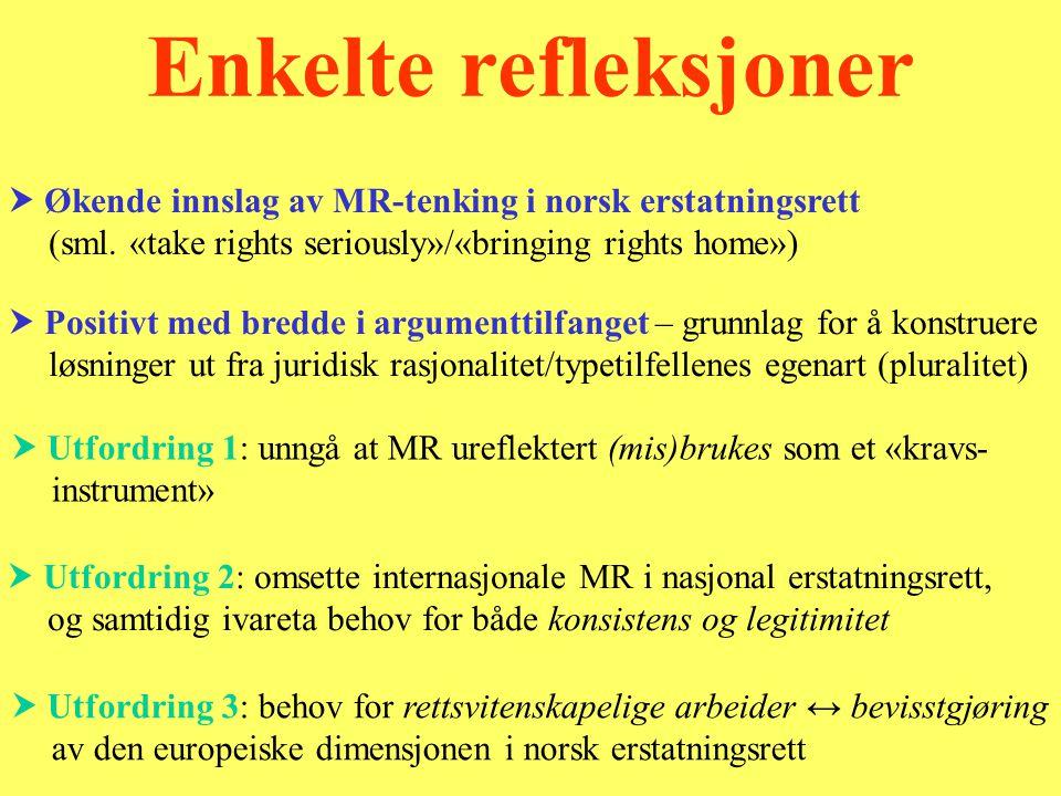  Utfordring 2: omsette internasjonale MR i nasjonal erstatningsrett, og samtidig ivareta behov for både konsistens og legitimitet  Positivt med bredde i argumenttilfanget – grunnlag for å konstruere løsninger ut fra juridisk rasjonalitet/typetilfellenes egenart (pluralitet) Enkelte refleksjoner  Utfordring 1: unngå at MR ureflektert (mis)brukes som et «kravs- instrument»  Utfordring 3: behov for rettsvitenskapelige arbeider ↔ bevisstgjøring av den europeiske dimensjonen i norsk erstatningsrett  Økende innslag av MR-tenking i norsk erstatningsrett (sml.