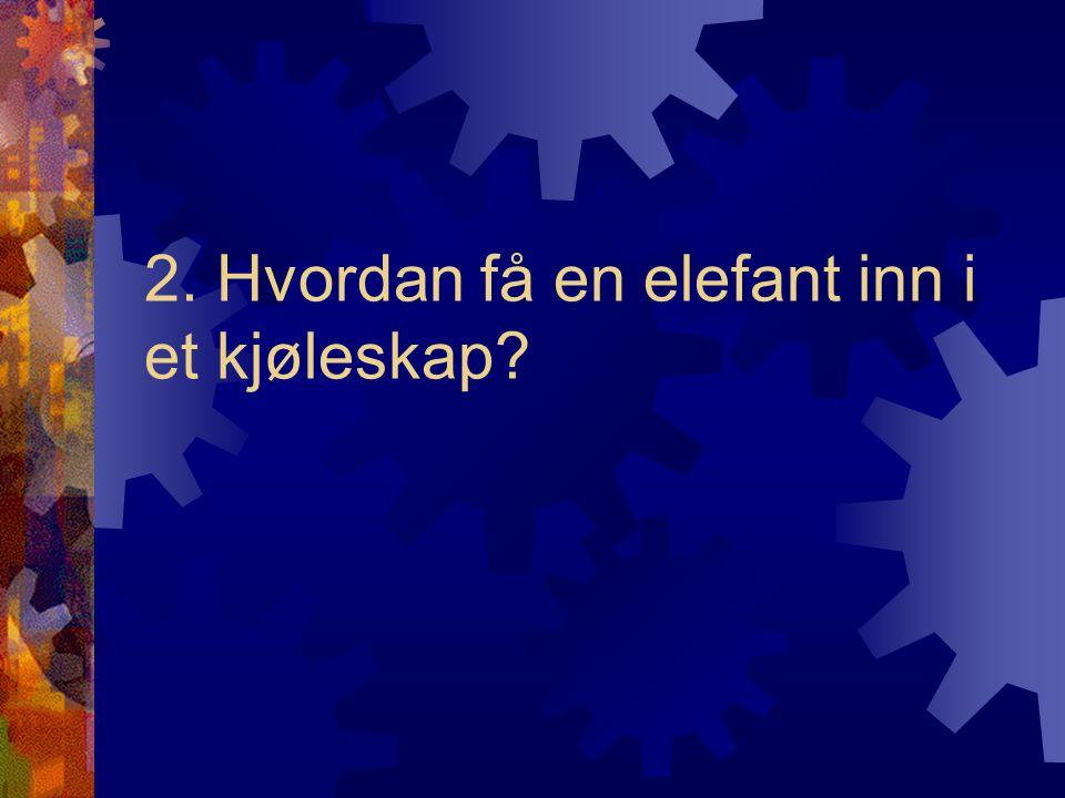 Feil svar: Åpne kjøleskapet, sett inn elefanten og lukk deretter døren.