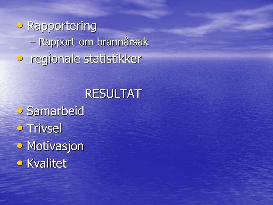 • Rapportering –Rapport om brannårsak • regionale statistikker RESULTAT RESULTAT • Samarbeid • Trivsel • Motivasjon • Kvalitet