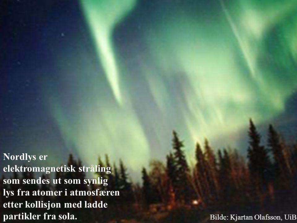 Nordlys er elektromagnetisk stråling som sendes ut som synlig lys fra atomer i atmosfæren etter kollisjon med ladde partikler fra sola. Bilde: Kjartan