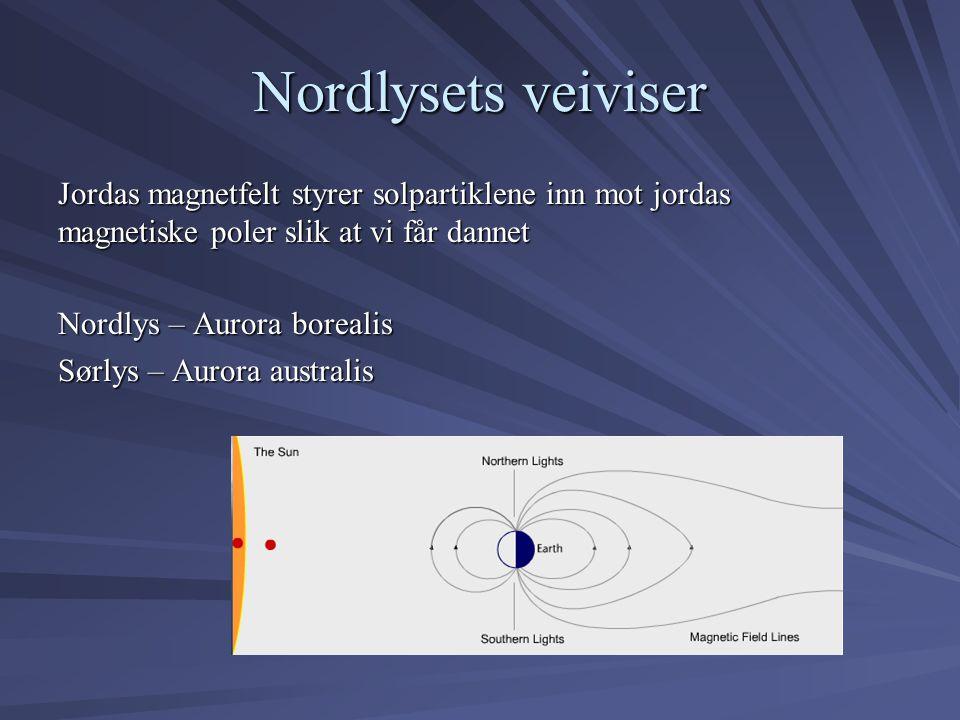 Nordlysets veiviser Jordas magnetfelt styrer solpartiklene inn mot jordas magnetiske poler slik at vi får dannet Nordlys – Aurora borealis Sørlys – Au