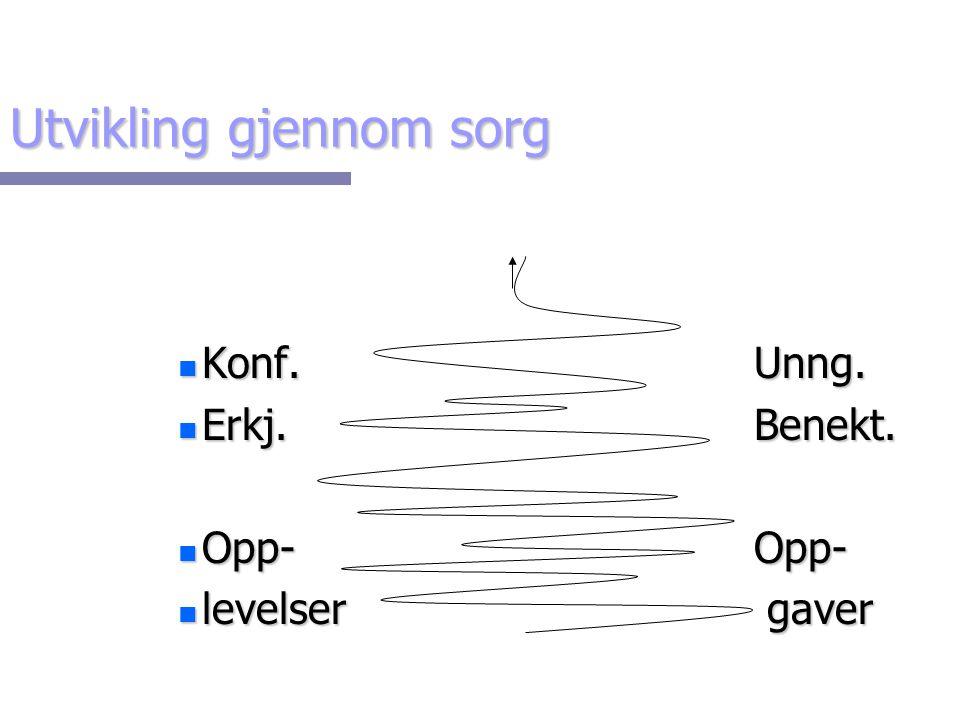 Utvikling gjennom sorg n Konf.Unng. n Erkj.Benekt. n Opp- Opp- n levelser gaver