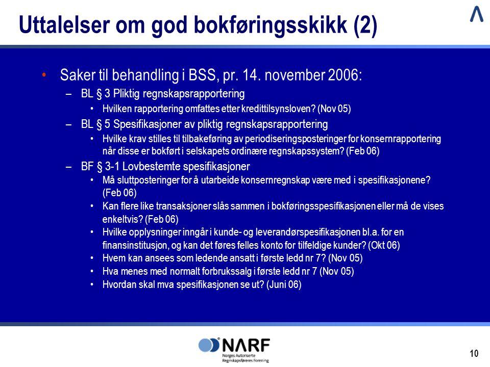 10 Uttalelser om god bokføringsskikk (2) •Saker til behandling i BSS, pr. 14. november 2006: –BL § 3 Pliktig regnskapsrapportering •Hvilken rapporteri