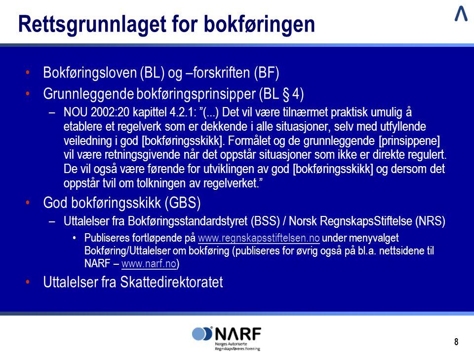 8 Rettsgrunnlaget for bokføringen •Bokføringsloven (BL) og –forskriften (BF) •Grunnleggende bokføringsprinsipper (BL § 4) –NOU 2002:20 kapittel 4.2.1: