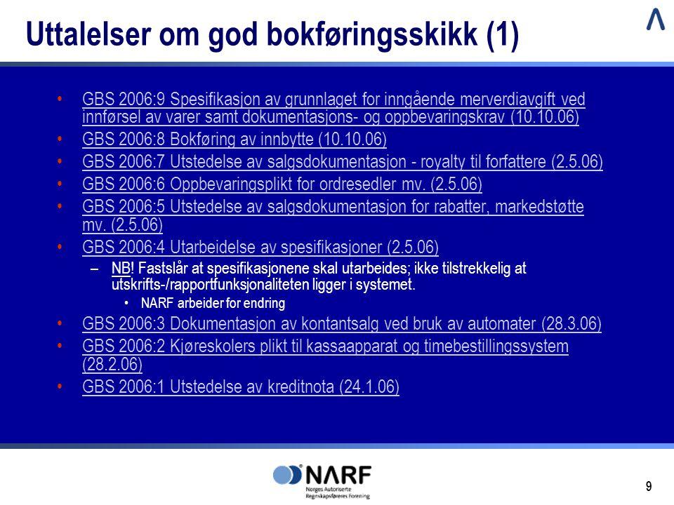 9 Uttalelser om god bokføringsskikk (1) •GBS 2006:9 Spesifikasjon av grunnlaget for inngående merverdiavgift ved innførsel av varer samt dokumentasjons- og oppbevaringskrav (10.10.06)GBS 2006:9 Spesifikasjon av grunnlaget for inngående merverdiavgift ved innførsel av varer samt dokumentasjons- og oppbevaringskrav (10.10.06) •GBS 2006:8 Bokføring av innbytte (10.10.06)GBS 2006:8 Bokføring av innbytte (10.10.06) •GBS 2006:7 Utstedelse av salgsdokumentasjon - royalty til forfattere (2.5.06)GBS 2006:7 Utstedelse av salgsdokumentasjon - royalty til forfattere (2.5.06) •GBS 2006:6 Oppbevaringsplikt for ordresedler mv.