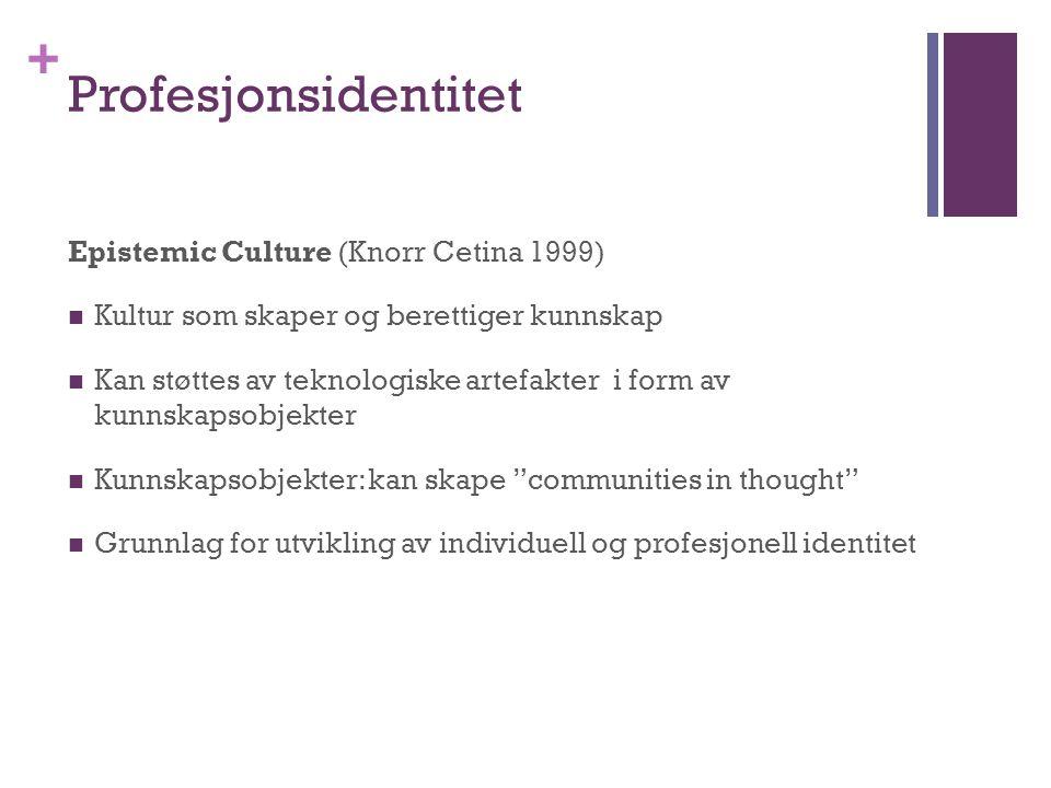 + Profesjonsidentitet Epistemic Culture (Knorr Cetina 1999)  Kultur som skaper og berettiger kunnskap  Kan støttes av teknologiske artefakter i form