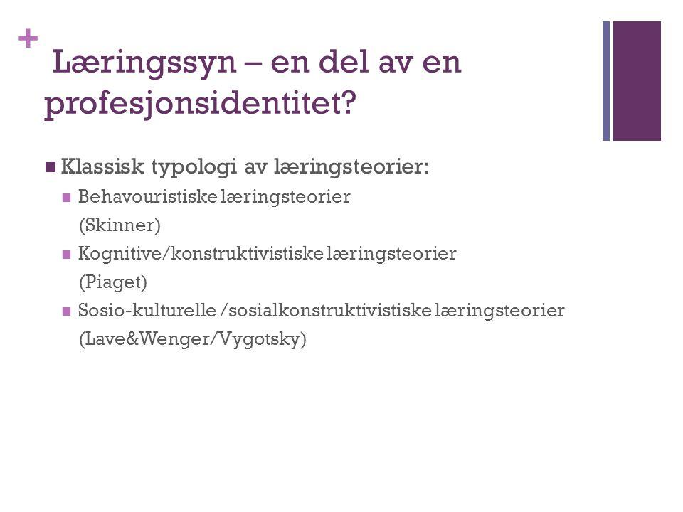 + Læringssyn – en del av en profesjonsidentitet?  Klassisk typologi av læringsteorier:  Behavouristiske læringsteorier (Skinner)  Kognitive/konstru