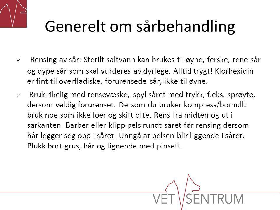 Generelt om sårbehandling  Melolin kompress på sår som væsker, for å unngå at bandasjen fester seg i såret og skorpen rives av ved neste bandasjeskift.