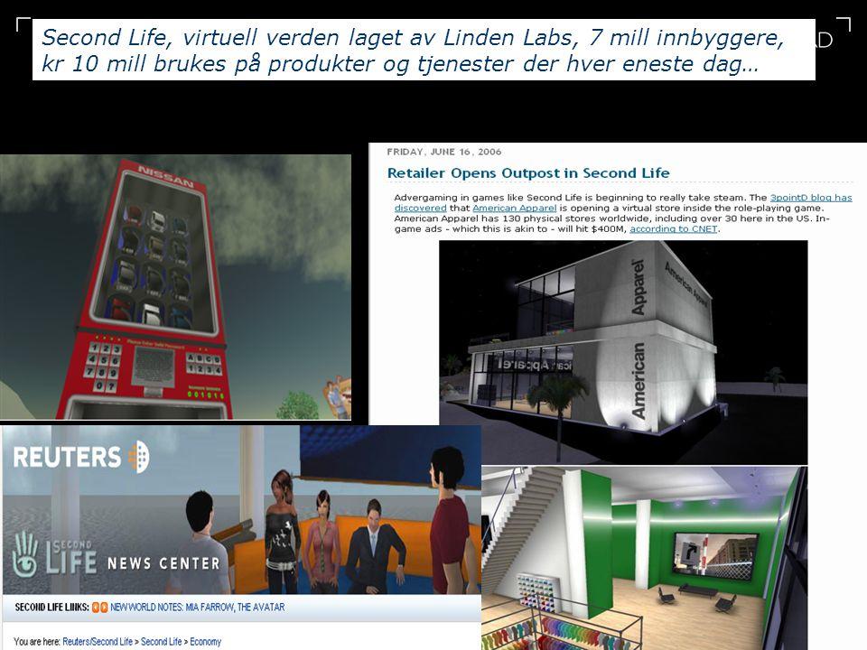 12 Second Life, virtuell verden laget av Linden Labs, 7 mill innbyggere, kr 10 mill brukes på produkter og tjenester der hver eneste dag…