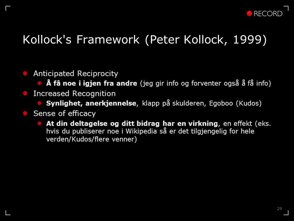 29 Kollock s Framework (Peter Kollock, 1999)  Anticipated Reciprocity  Å få noe i igjen fra andre (jeg gir info og forventer også å få info)  Increased Recognition  Synlighet, anerkjennelse, klapp på skulderen, Egoboo (Kudos)  Sense of efficacy  At din deltagelse og ditt bidrag har en virkning, en effekt (eks.