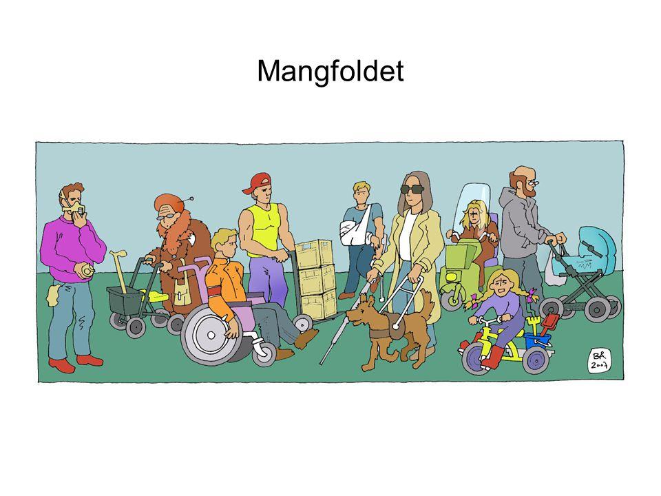 Mangfoldet Tegningen viser 9 representanter for mangfoldet i befolkningen som vil møte ulike barrierer i samfunnet. Vi ser en mann med maske (sannsynl