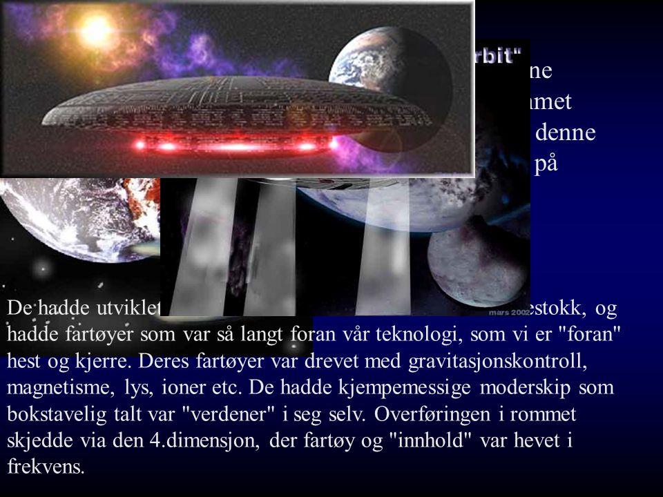 Korendorene hadde kommet til jorden i denne syklus sist på 50tallet De hadde utviklet romfart for ca 3000år siden i vår tidsmålestokk, og hadde fartøyer som var så langt foran vår teknologi, som vi er foran hest og kjerre.