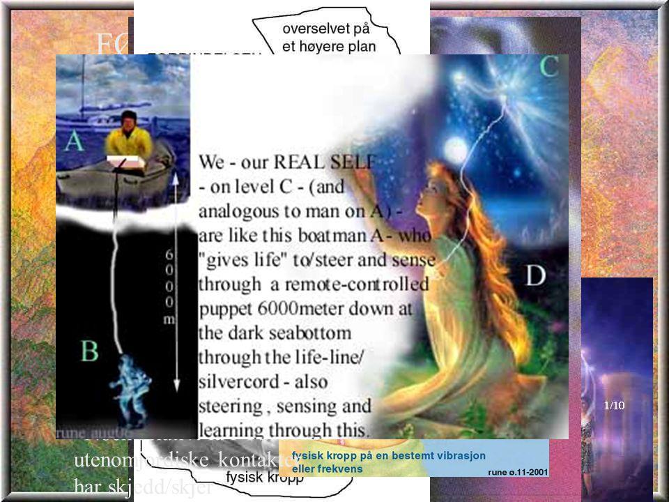 FØRST LITT ÅNDELIG TEORI : *Vi – og ALT LIV - er multidimensjonelle vesener – altså lever vi på mange plan/nivåer *er åndelige vesener som sanser VIA /eller gjennom fysiske/grovstoffelige kropper *Når vi sover og når vi dør sanser vi gjennom vår overfysiske kropp *Mange har kontakter til utenomjordiske gjennom denne åndelige kroppen *Noen relativt få FYSISKE utenomjordiske kontakter har skjedd/skjer