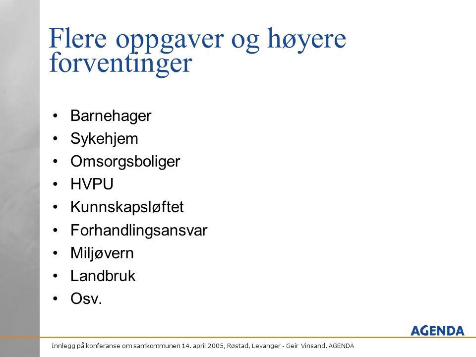 Innlegg på konferanse om samkommunen 14. april 2005, Røstad, Levanger - Geir Vinsand, AGENDA Flere oppgaver og høyere forventinger •Barnehager •Sykehj
